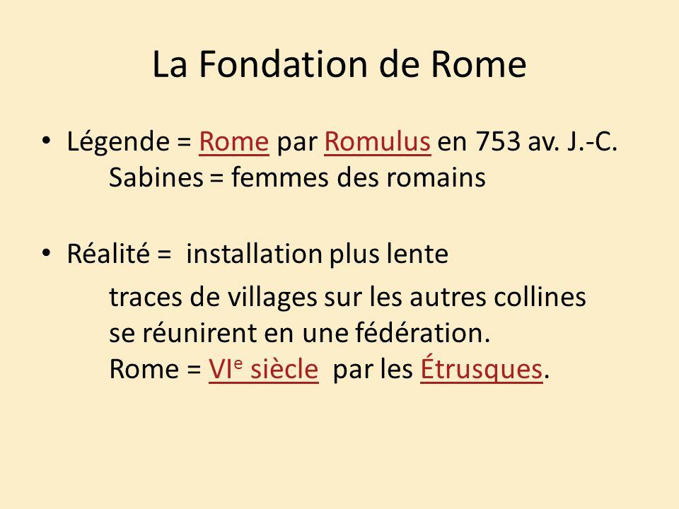 La Fondation de Rome Légende = Rome par Romulus en 753 av. J.-C. Sabines = femmes des romainsRomeRomulus Réalité = installation plus lente traces de v
