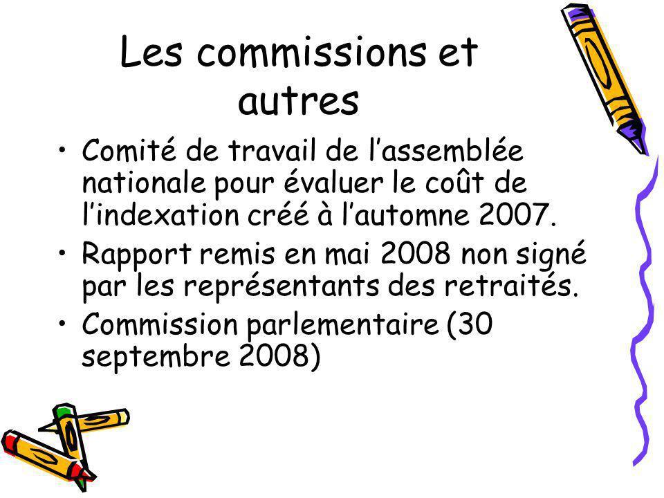Les commissions et autres Comité de travail de l'assemblée nationale pour évaluer le coût de l'indexation créé à l'automne 2007. Rapport remis en mai