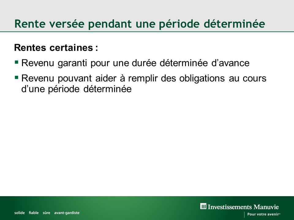 Rente versée pendant une période déterminée Rentes certaines :  Revenu garanti pour une durée déterminée d'avance  Revenu pouvant aider à remplir des obligations au cours d'une période déterminée