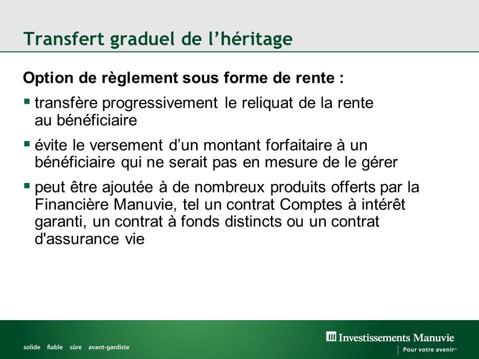 Transfert graduel de l'héritage Option de règlement sous forme de rente :  transfère progressivement le reliquat de la rente au bénéficiaire  évite