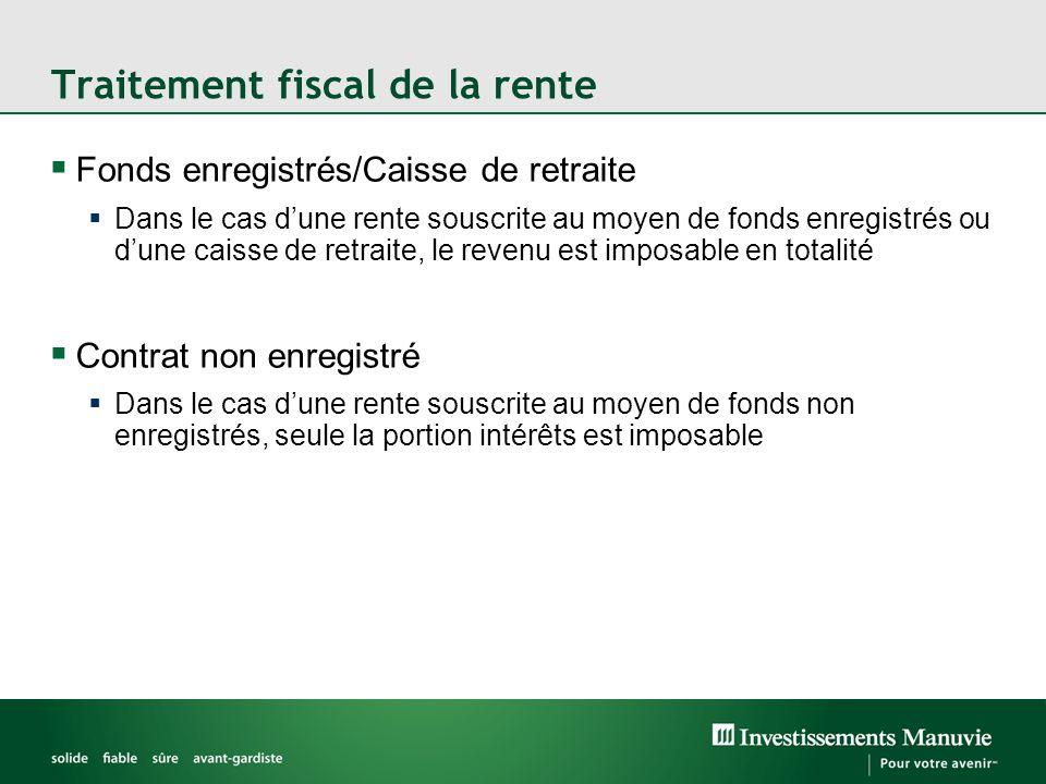 Traitement fiscal de la rente  Fonds enregistrés/Caisse de retraite  Dans le cas d'une rente souscrite au moyen de fonds enregistrés ou d'une caisse