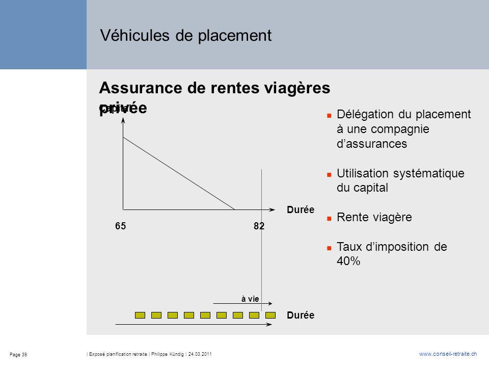 Page 39 www.conseil-retraite.ch | Exposé planification retraite | Philippe Kündig | 24.03.2011 Capital Durée Délégation du placement à une compagnie d
