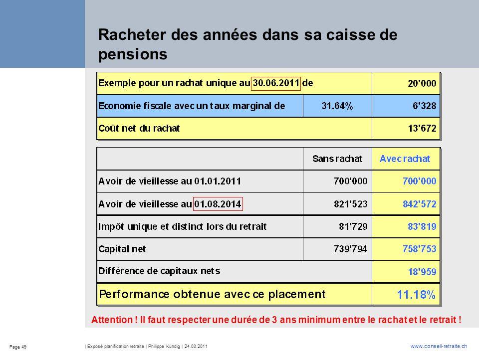 Page 49 www.conseil-retraite.ch | Exposé planification retraite | Philippe Kündig | 24.03.2011 Racheter des années dans sa caisse de pensions Attentio