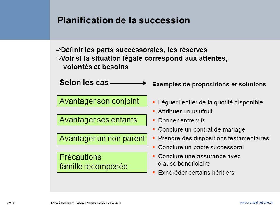 Page 51 www.conseil-retraite.ch | Exposé planification retraite | Philippe Kündig | 24.03.2011 Planification de la succession  Définir les parts succ