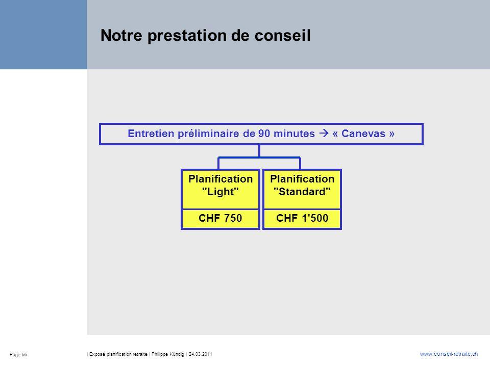 Page 56 www.conseil-retraite.ch | Exposé planification retraite | Philippe Kündig | 24.03.2011 Notre prestation de conseil Entretien préliminaire de 9