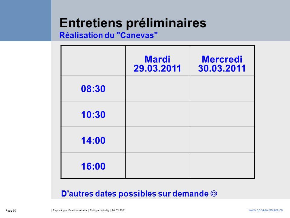Page 60 www.conseil-retraite.ch | Exposé planification retraite | Philippe Kündig | 24.03.2011 Entretiens préliminaires Réalisation du