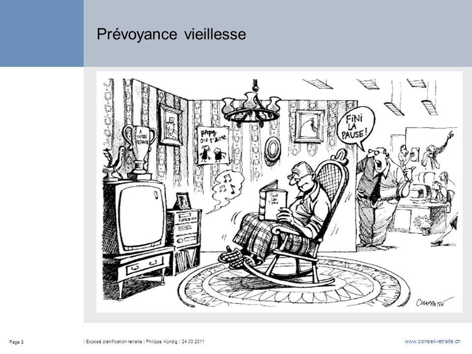 Page 8 www.conseil-retraite.ch | Exposé planification retraite | Philippe Kündig | 24.03.2011 Prévoyance vieillesse