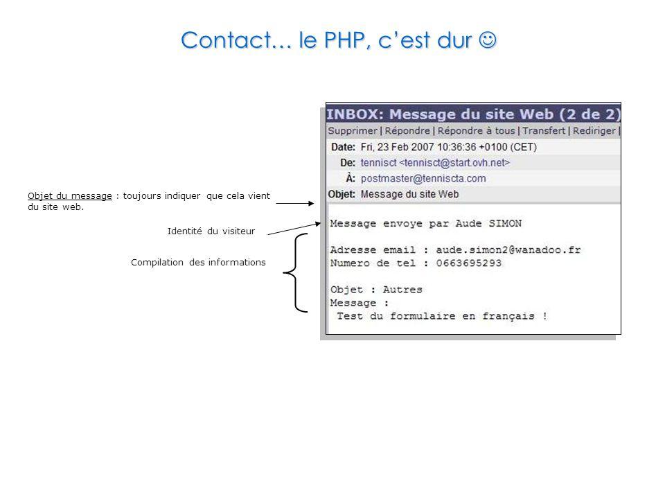 Contact… le PHP, c'est dur Contact… le PHP, c'est dur Objet du message : toujours indiquer que cela vient du site web. Identité du visiteur Compilatio