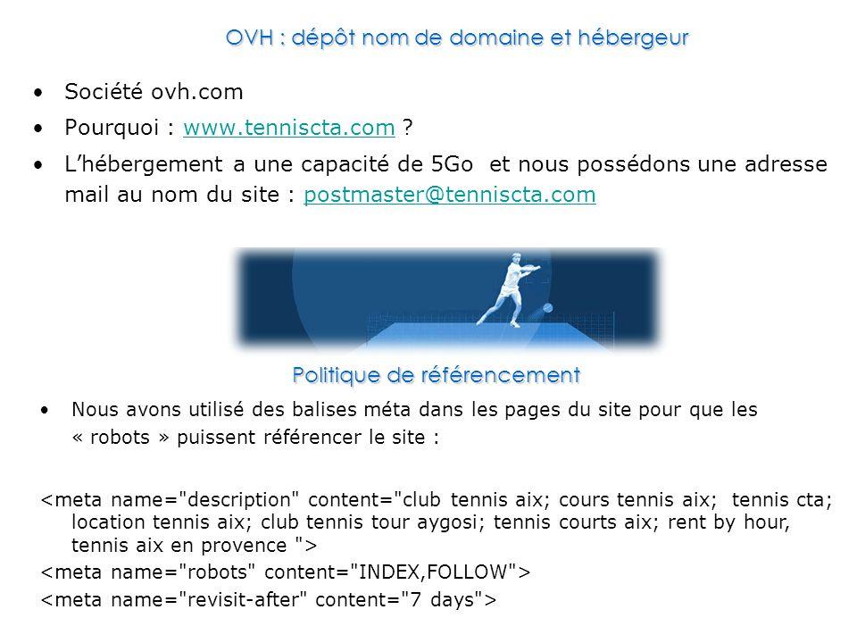 Société ovh.com Pourquoi : www.tenniscta.com ?www.tenniscta.com L'hébergement a une capacité de 5Go et nous possédons une adresse mail au nom du site