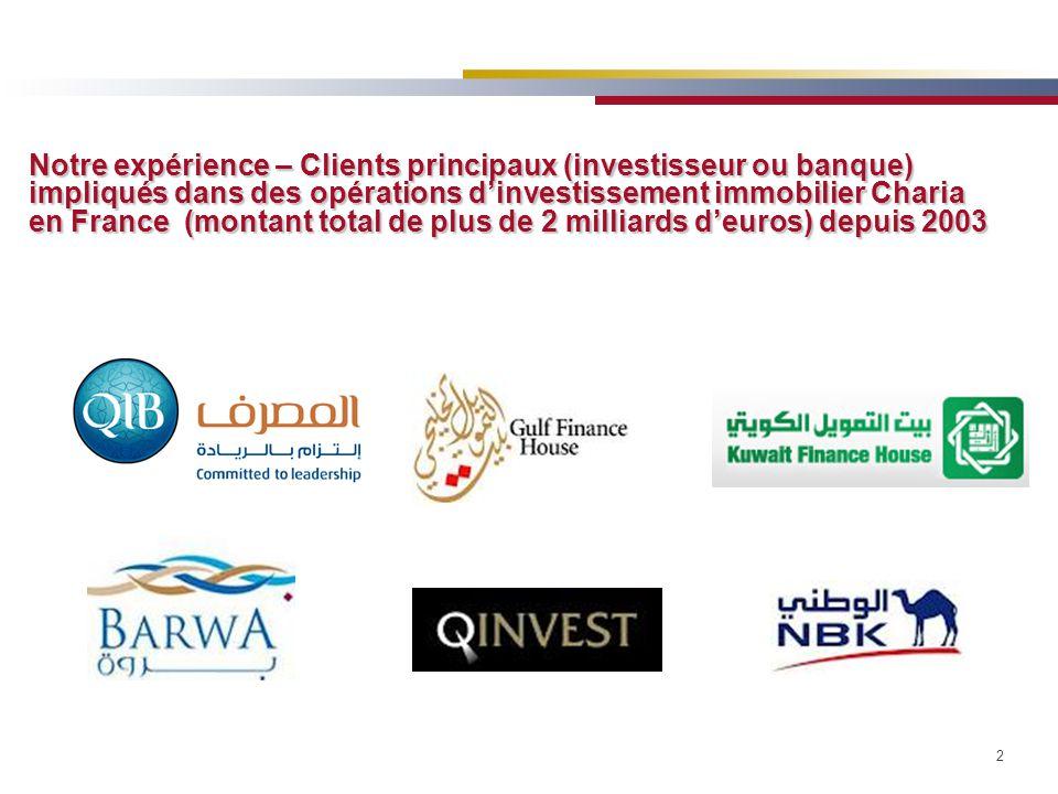 2 Notre expérience – Clients principaux (investisseur ou banque) impliqués dans des opérations d'investissement immobilier Charia en France (montant total de plus de 2 milliards d'euros) depuis 2003