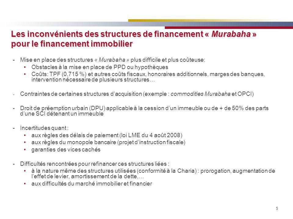 5 Les inconvénients des structures de financement « Murabaha » pour le financement immobilier -Mise en place des structures « Murabaha » plus difficil
