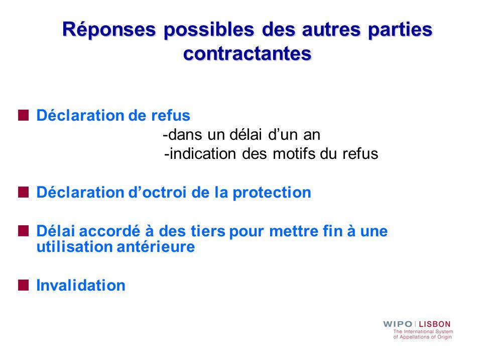 Réponses possibles des autres parties contractantes Déclaration de refus -dans un délai d'un an -indication des motifs du refus Déclaration d'octroi d