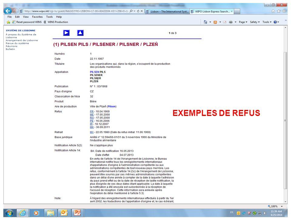 EXEMPLES DE REFUS
