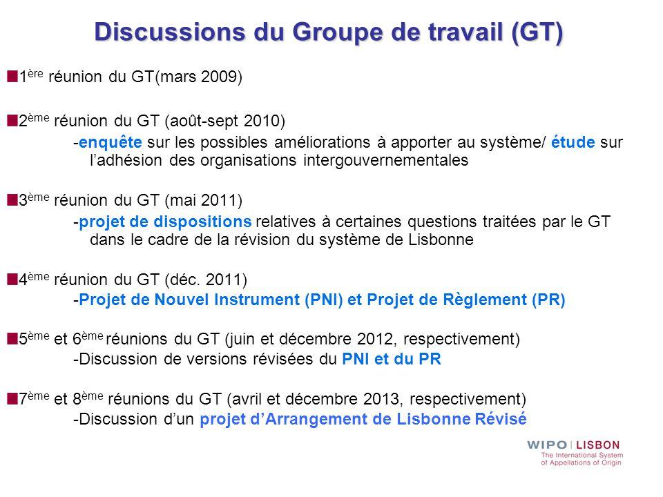 Discussions du Groupe de travail (GT) 1 ère réunion du GT(mars 2009) 2 ème réunion du GT (août-sept 2010) -enquête sur les possibles améliorations à a