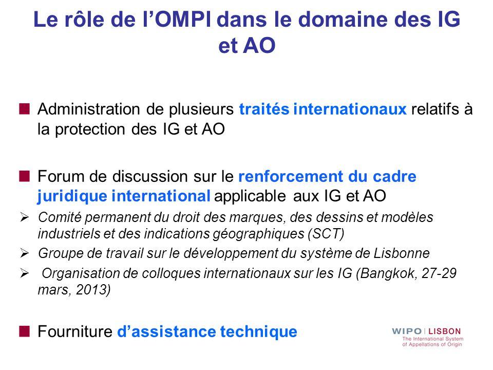 Le rôle de l'OMPI dans le domaine des IG et AO Administration de plusieurs traités internationaux relatifs à la protection des IG et AO Forum de discu