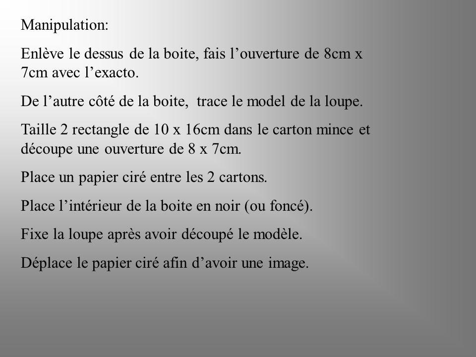 Manipulation: Enlève le dessus de la boite, fais l'ouverture de 8cm x 7cm avec l'exacto.