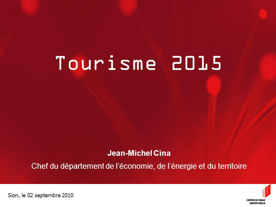 Optimisation de la Promotion économiqueOptimisation de la promotion économique Sion, le 02 septembre 2010 Tourisme 2015 Jean-Michel Cina Chef du dépar