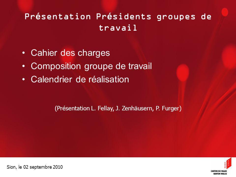 Optimisation de la Promotion économiqueOptimisation de la promotion économique Sion, le 02 septembre 2010 Présentation Présidents groupes de travail C
