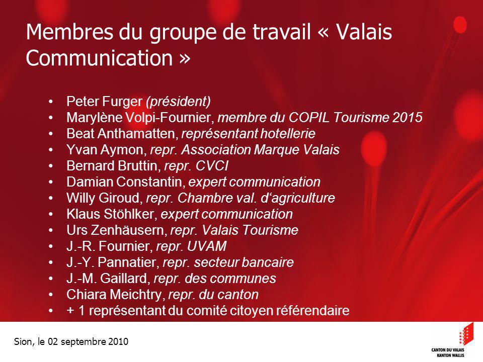 Optimisation de la Promotion économiqueOptimisation de la promotion économique Sion, le 02 septembre 2010 Membres du groupe de travail « Valais Commun
