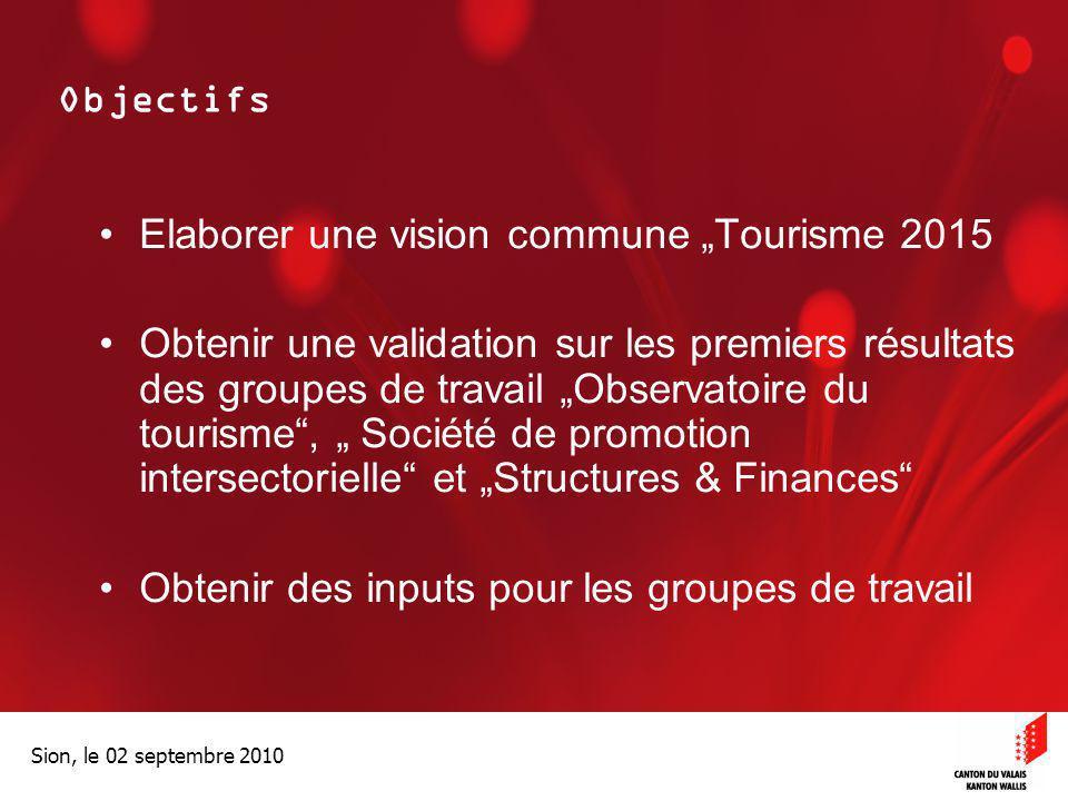 """Optimisation de la Promotion économiqueOptimisation de la promotion économique Sion, le 02 septembre 2010 Objectifs Elaborer une vision commune """"Touri"""
