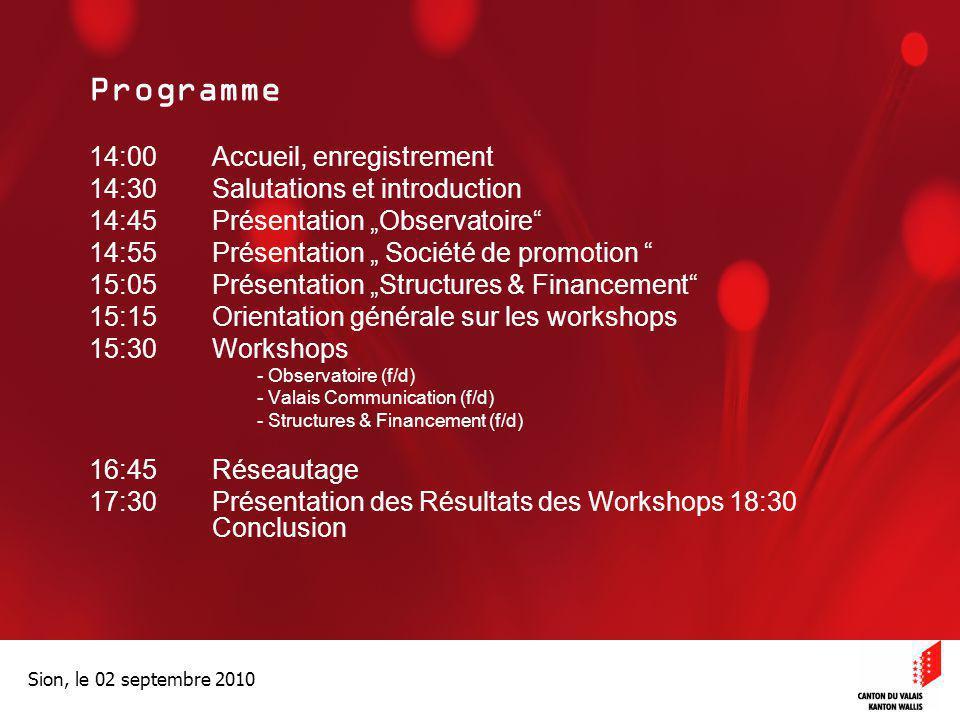 Optimisation de la Promotion économiqueOptimisation de la promotion économique Sion, le 02 septembre 2010 Programme 14:00Accueil, enregistrement 14:30
