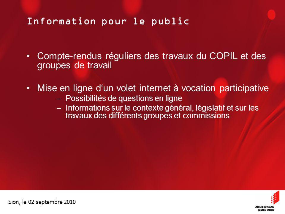 Optimisation de la Promotion économiqueOptimisation de la promotion économique Sion, le 02 septembre 2010 Information pour le public Compte-rendus rég