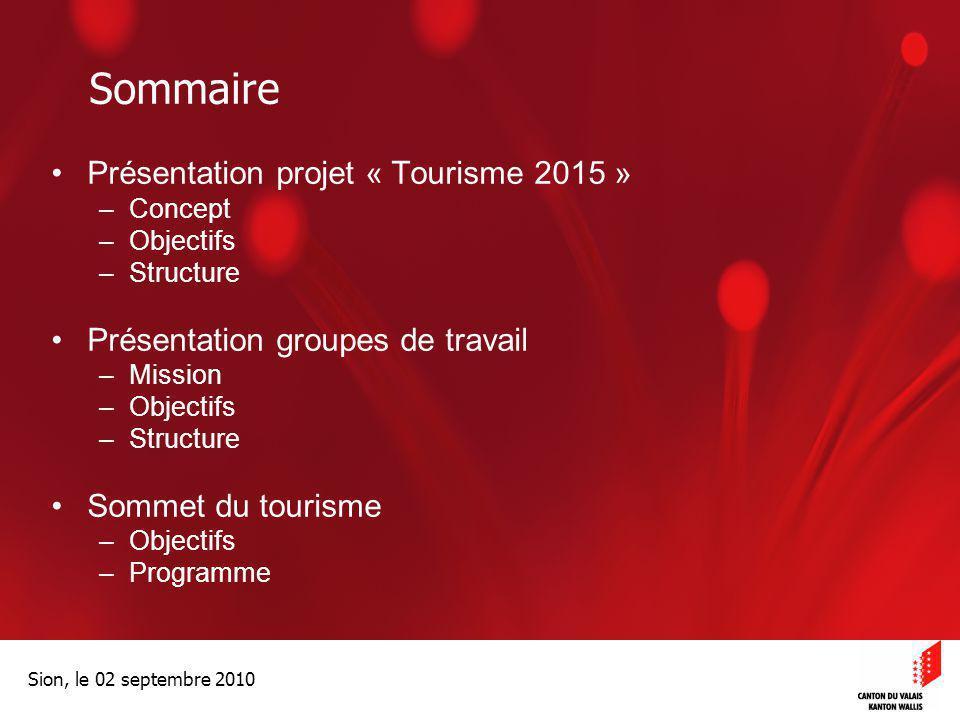 Optimisation de la Promotion économiqueOptimisation de la promotion économique Sion, le 02 septembre 2010 Sommaire Présentation projet « Tourisme 2015