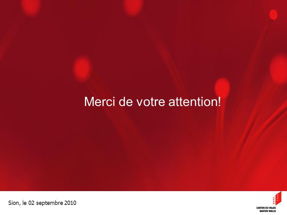 Optimisation de la Promotion économiqueOptimisation de la promotion économique Sion, le 02 septembre 2010 Merci de votre attention!