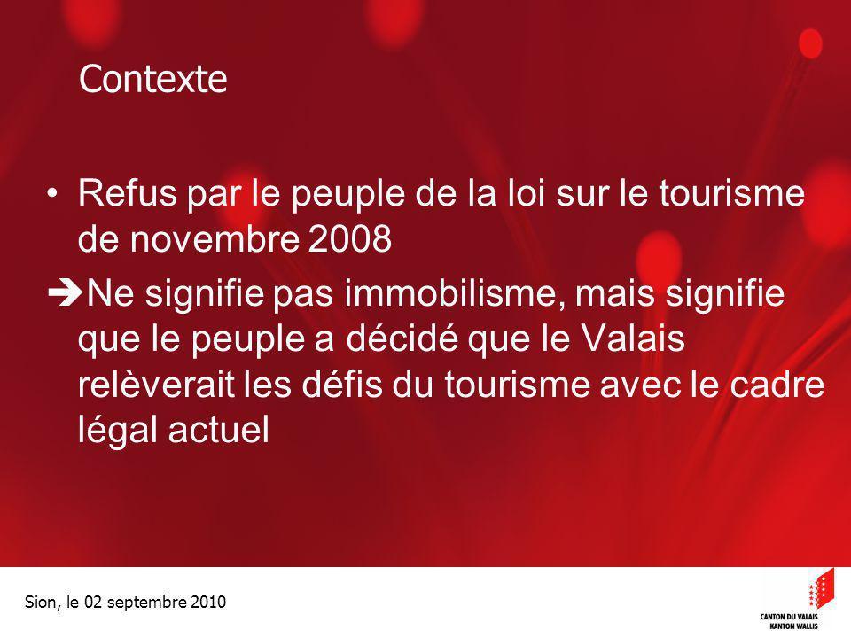 Optimisation de la Promotion économiqueOptimisation de la promotion économique Sion, le 02 septembre 2010 Contexte Refus par le peuple de la loi sur l