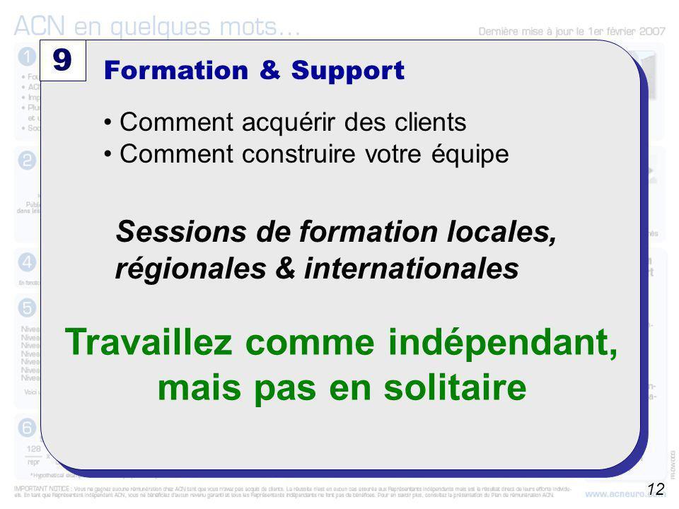 A partir du 01/10/2006 9 Formation & Support Comment acquérir des clients Comment construire votre équipe Sessions de formation locales, régionales &