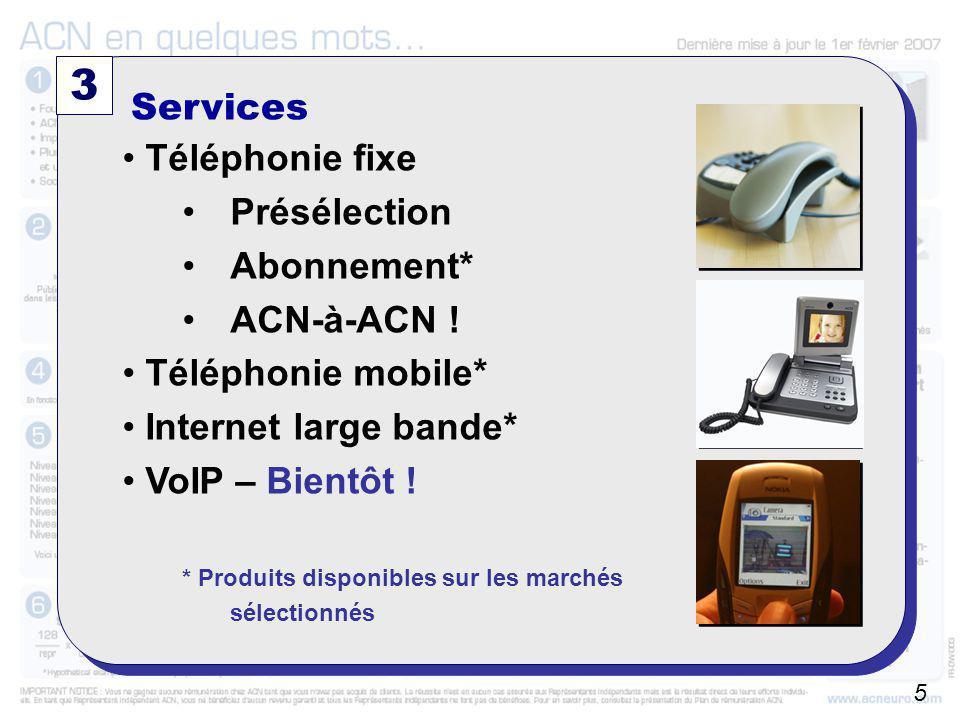 A partir du 01/10/2006 3 Services Téléphonie fixe Présélection Abonnement* ACN-à-ACN ! Téléphonie mobile* Internet large bande* VoIP – Bientôt ! * Pro