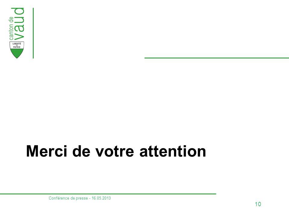 Merci de votre attention Conférence de presse - 16.05.2013 10