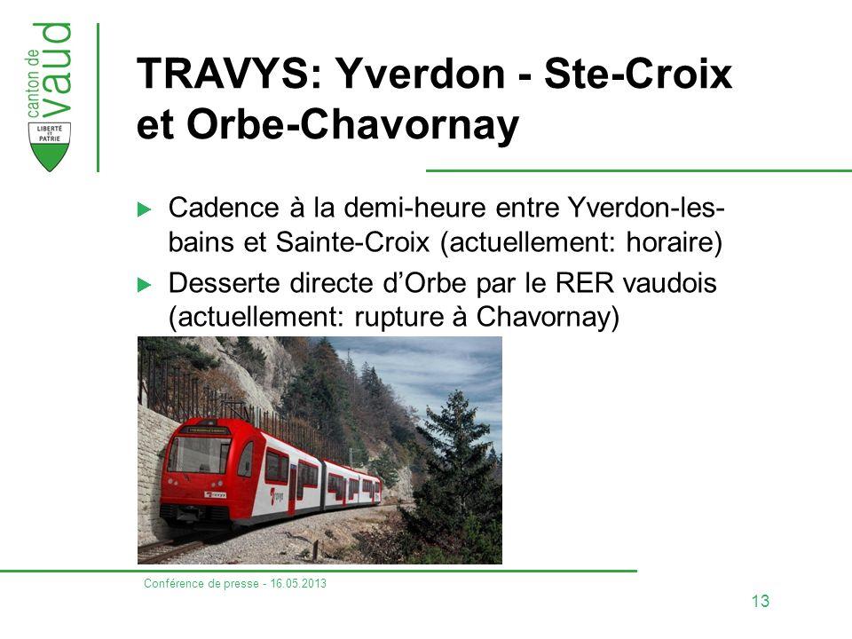 Conférence de presse - 16.05.2013 13 TRAVYS: Yverdon - Ste-Croix et Orbe-Chavornay  Cadence à la demi-heure entre Yverdon-les- bains et Sainte-Croix (actuellement: horaire)  Desserte directe d'Orbe par le RER vaudois (actuellement: rupture à Chavornay)