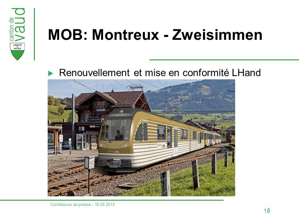 Conférence de presse - 16.05.2013 19 TPC: Aigle - Ollon - Monthey – Champéry  Renouvellement et mise en conformité LHand