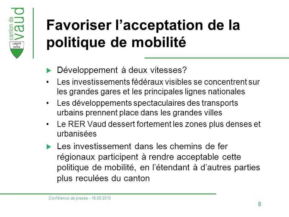 Conférence de presse - 16.05.2013 9 Favoriser l'acceptation de la politique de mobilité  Développement à deux vitesses.
