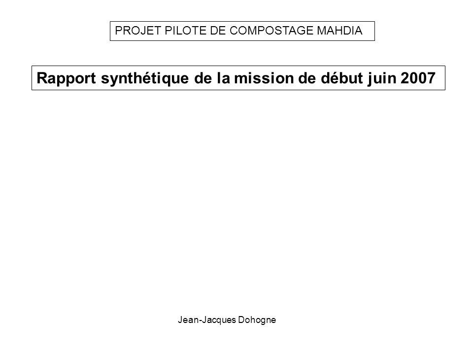 PROJET PILOTE DE COMPOSTAGE MAHDIA Rapport synthétique de la mission de début juin 2007 Jean-Jacques Dohogne