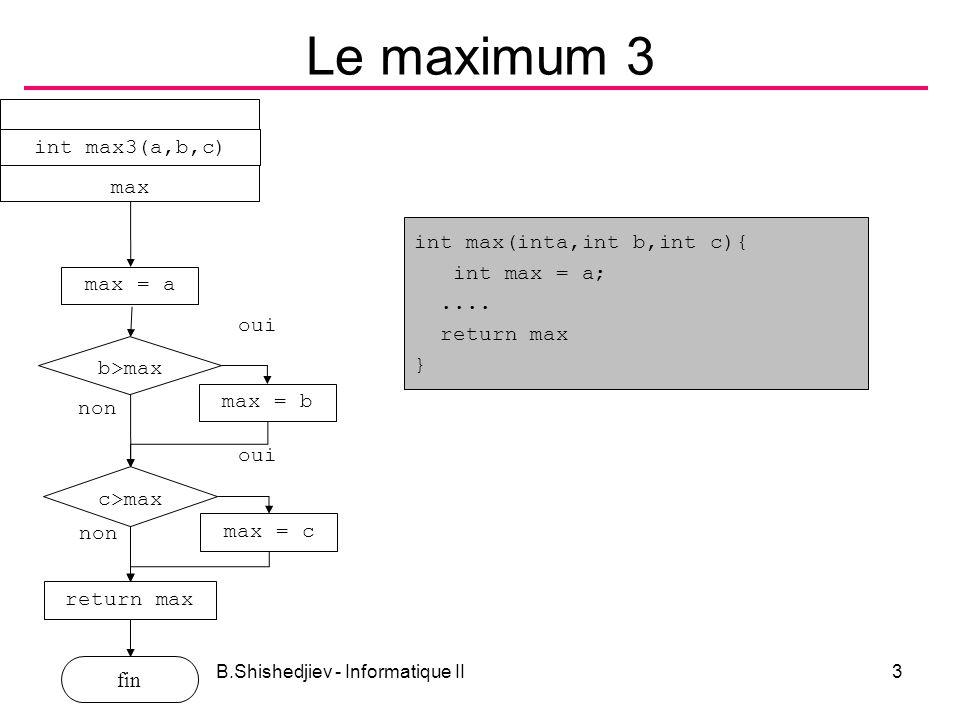 B.Shishedjiev - Informatique II4 Cos x #include double cosx(double, double); void main(void){ double x, xd, xf, dx; printf( tapez la valeur initiale, la valeur finale et le pas: ); scanf( %lf%lf%lf ,&xd,&xf,&dx); for (x = xd; x <= xf; x+= dx) { printf( x=%5.2f f=%8.5f cos=%8.5f\n ,x,cosx(x,.0001),cos(x)); } double cosx(double x, double eps){ double a=1,s=1; int i=0; while (fabs(a) > eps){ i +=2; a = -a*x*x/i/(i-1); s+=a; } return s; } for(i=2,a=1,s=1; fabs(a) > eps;i+=2) { a=-a*x*x/i/(i-1); s+=a; }