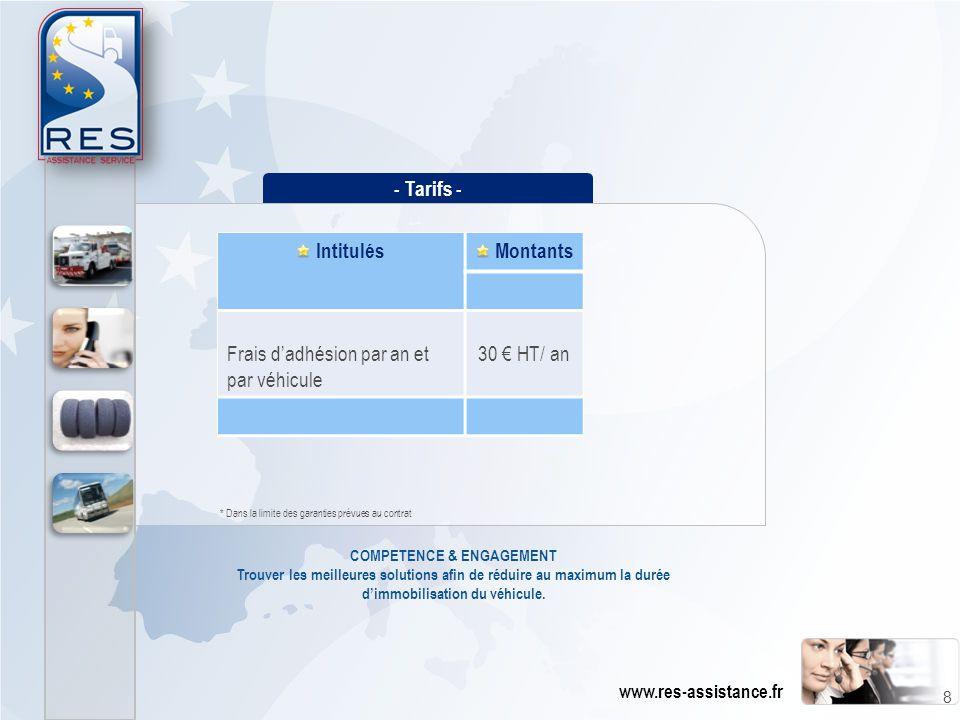 - Tarifs - Intitulés Montants Frais d'adhésion par an et par véhicule 30 € HT/ an COMPETENCE & ENGAGEMENT Trouver les meilleures solutions afin de réd