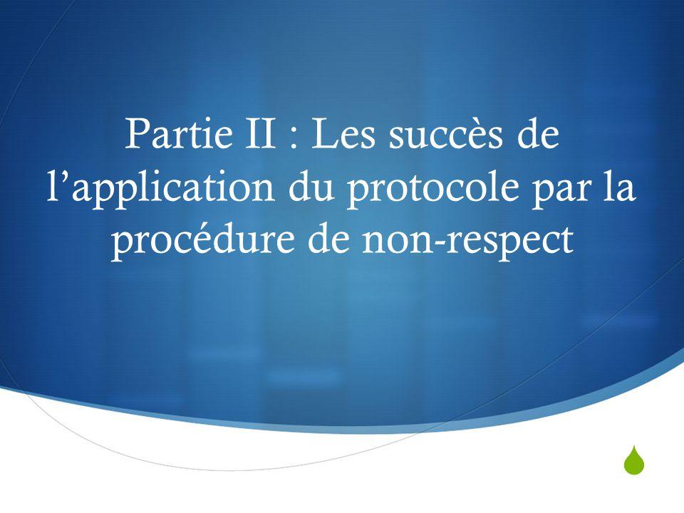  Partie II : Les succès de l'application du protocole par la procédure de non-respect
