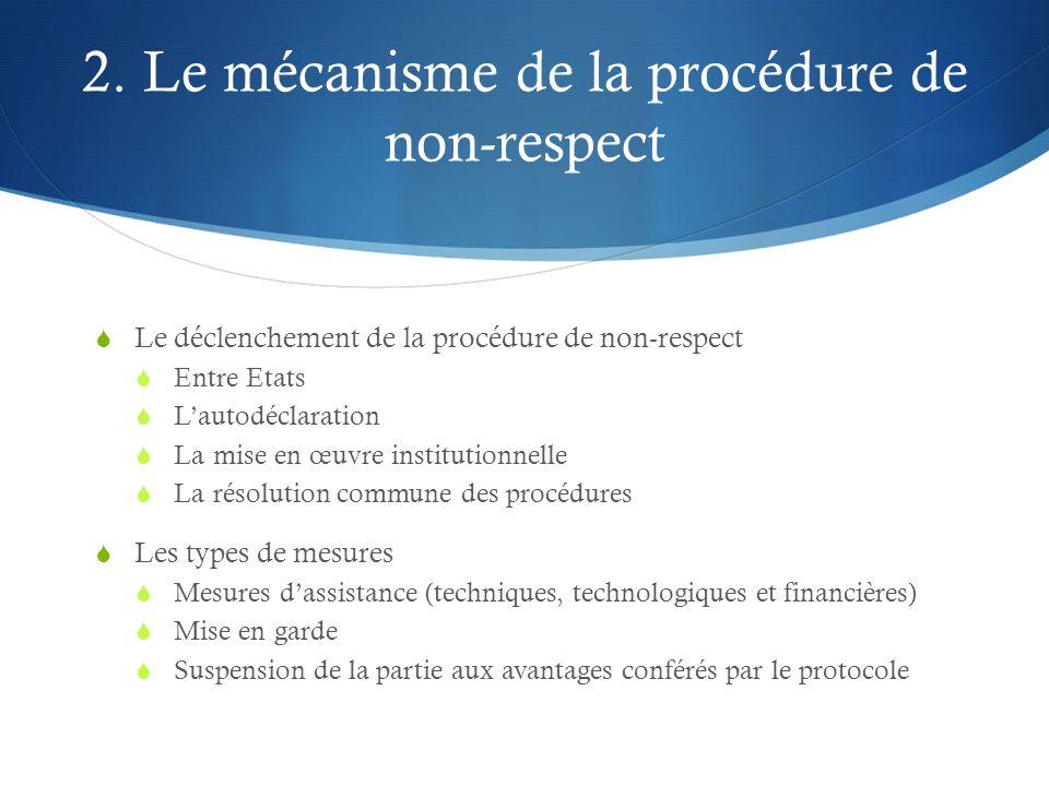 2. Le mécanisme de la procédure de non-respect  Le déclenchement de la procédure de non-respect  Entre Etats  L'autodéclaration  La mise en œuvre