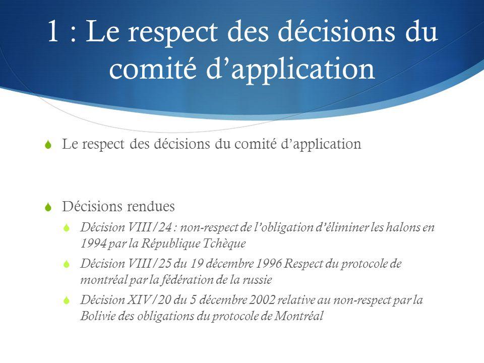 1 : Le respect des décisions du comité d'application  Le respect des décisions du comité d'application  Décisions rendues  Décision VIII/24 : non-r