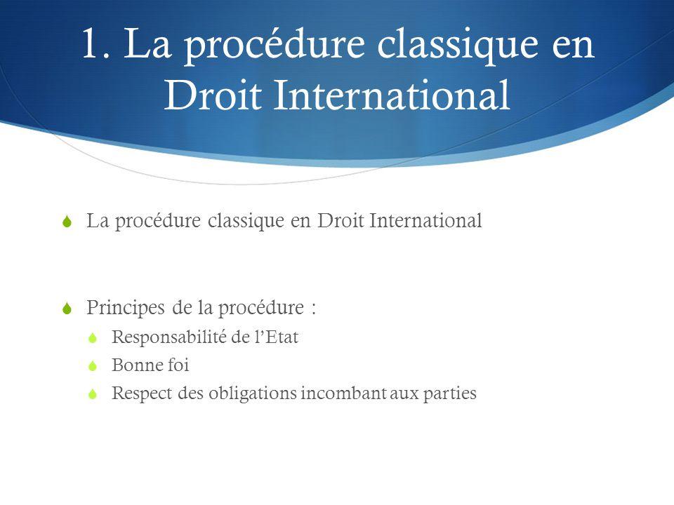 1. La procédure classique en Droit International  La procédure classique en Droit International  Principes de la procédure :  Responsabilité de l'E