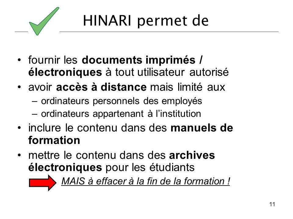 HINARI permet de fournir les documents imprimés / électroniques à tout utilisateur autorisé avoir accès à distance mais limité aux –ordinateurs person