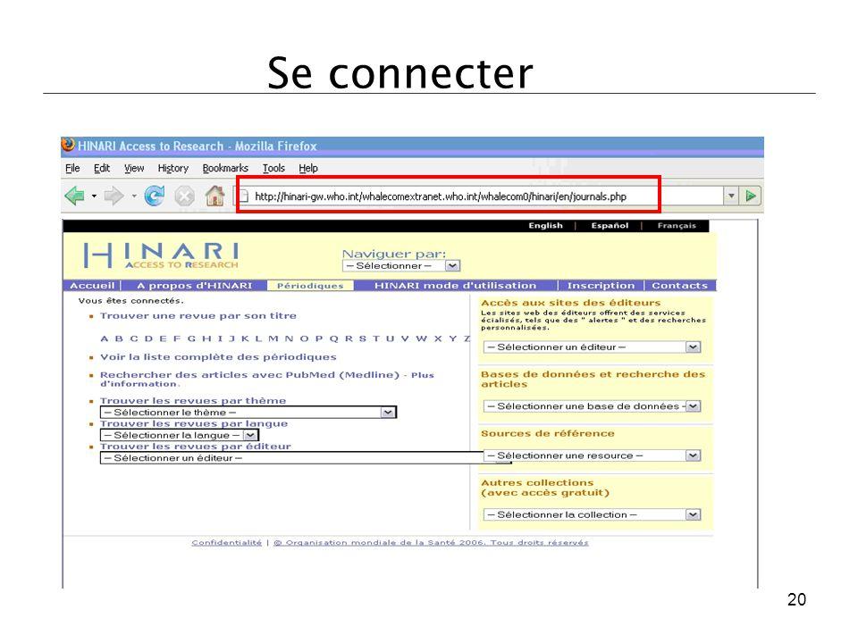 Une fois connecté, vous serez dirigé vers la page 'Périodiques, bases de données, et autres sources d'informations en texte intégral' du site web. 20