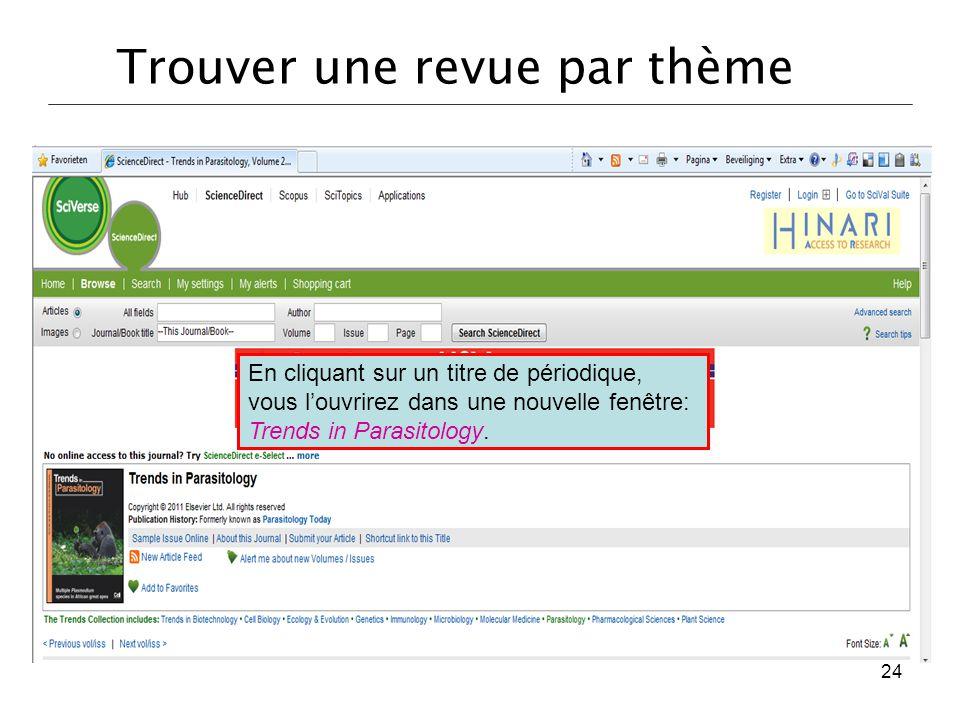 En cliquant sur un titre de périodique, vous l'ouvrirez dans une nouvelle fenêtre: Trends in Parasitology. 24 Trouver une revue par thème