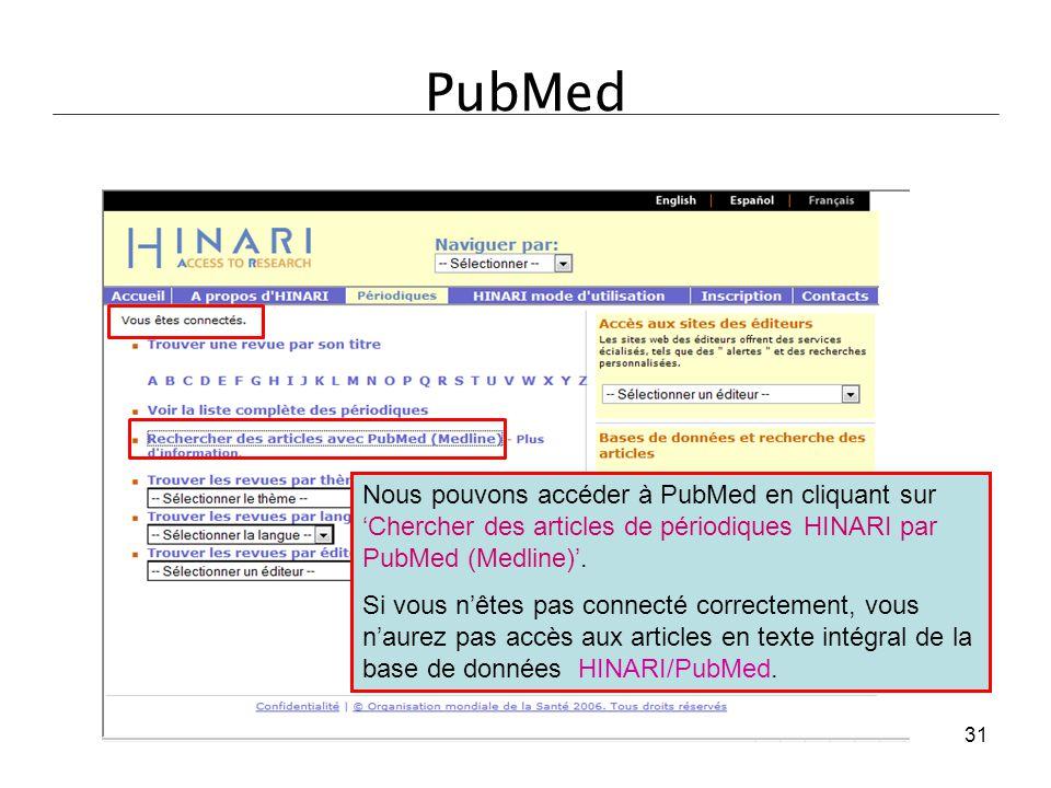 PubMed Nous pouvons accéder à PubMed en cliquant sur 'Chercher des articles de périodiques HINARI par PubMed (Medline)'. Si vous n'êtes pas connecté c