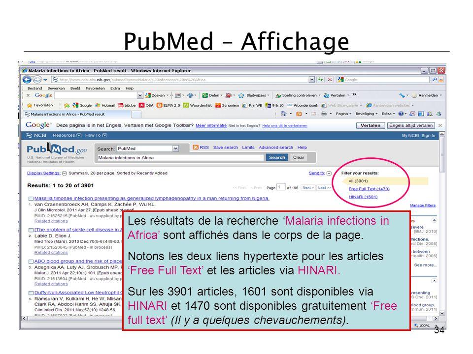 PubMed – Affichage Les résultats de la recherche 'Malaria infections in Africa' sont affichés dans le corps de la page. Notons les deux liens hypertex