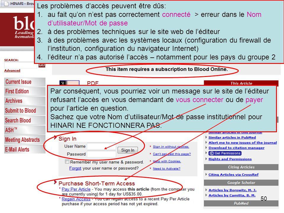 Les problèmes d'accès peuvent être dûs: 1.au fait qu'on n'est pas correctement connecté > erreur dans le Nom d'utilisateur/Mot de passe 2.à des problè