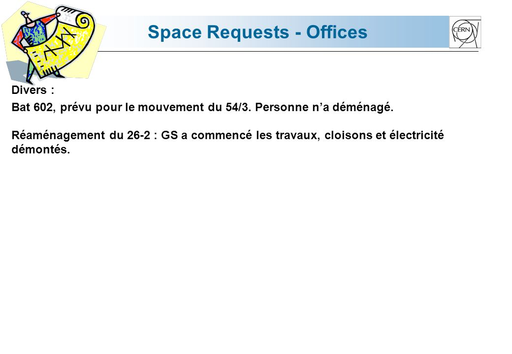 Space Requests - Offices Divers : Bat 602, prévu pour le mouvement du 54/3.