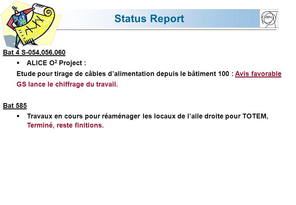 Status Report Bat 4 S-054,056,060  ALICE O 2 Project : Etude pour tirage de câbles d'alimentation depuis le bâtiment 100 : Avis favorable GS lance le chiffrage du travail.